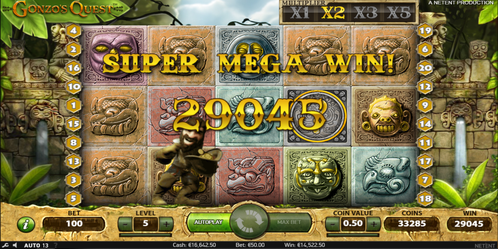 Gonzo's Quest slot game Super Mega Win