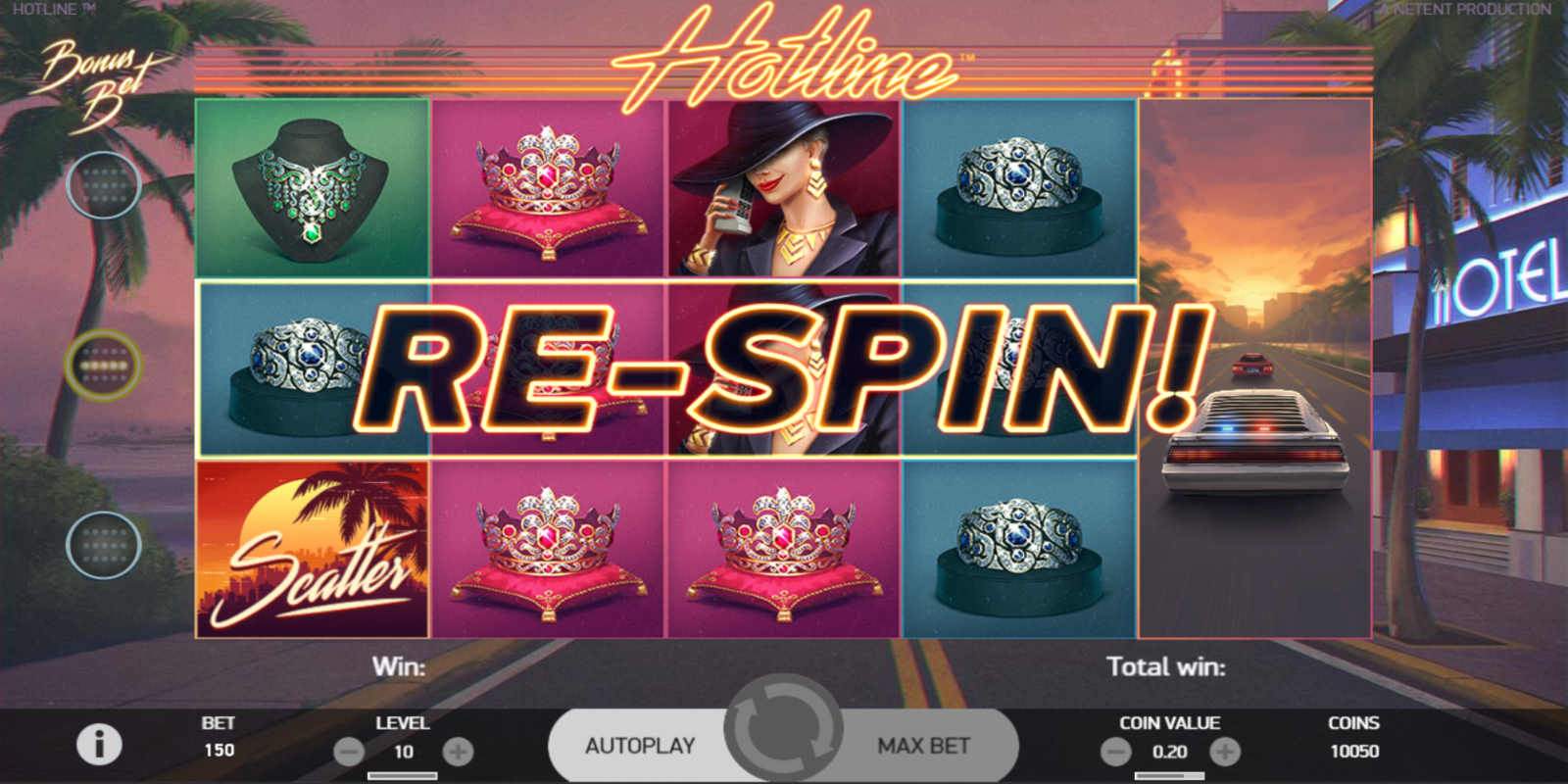 Hotline slot game Re-spin feature