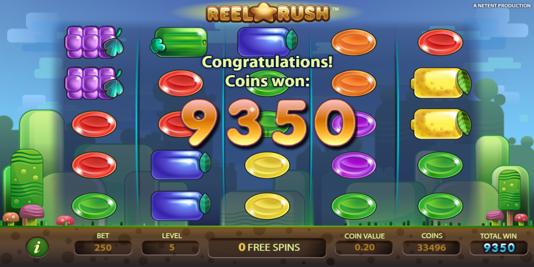 Reel Rush slot game 3125 Paylines Big Win