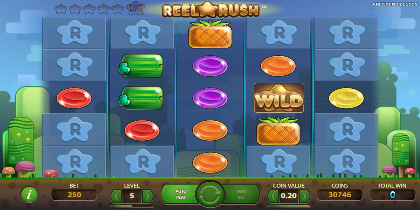Reel Rush slot game Wild Symbol Basic Paylines