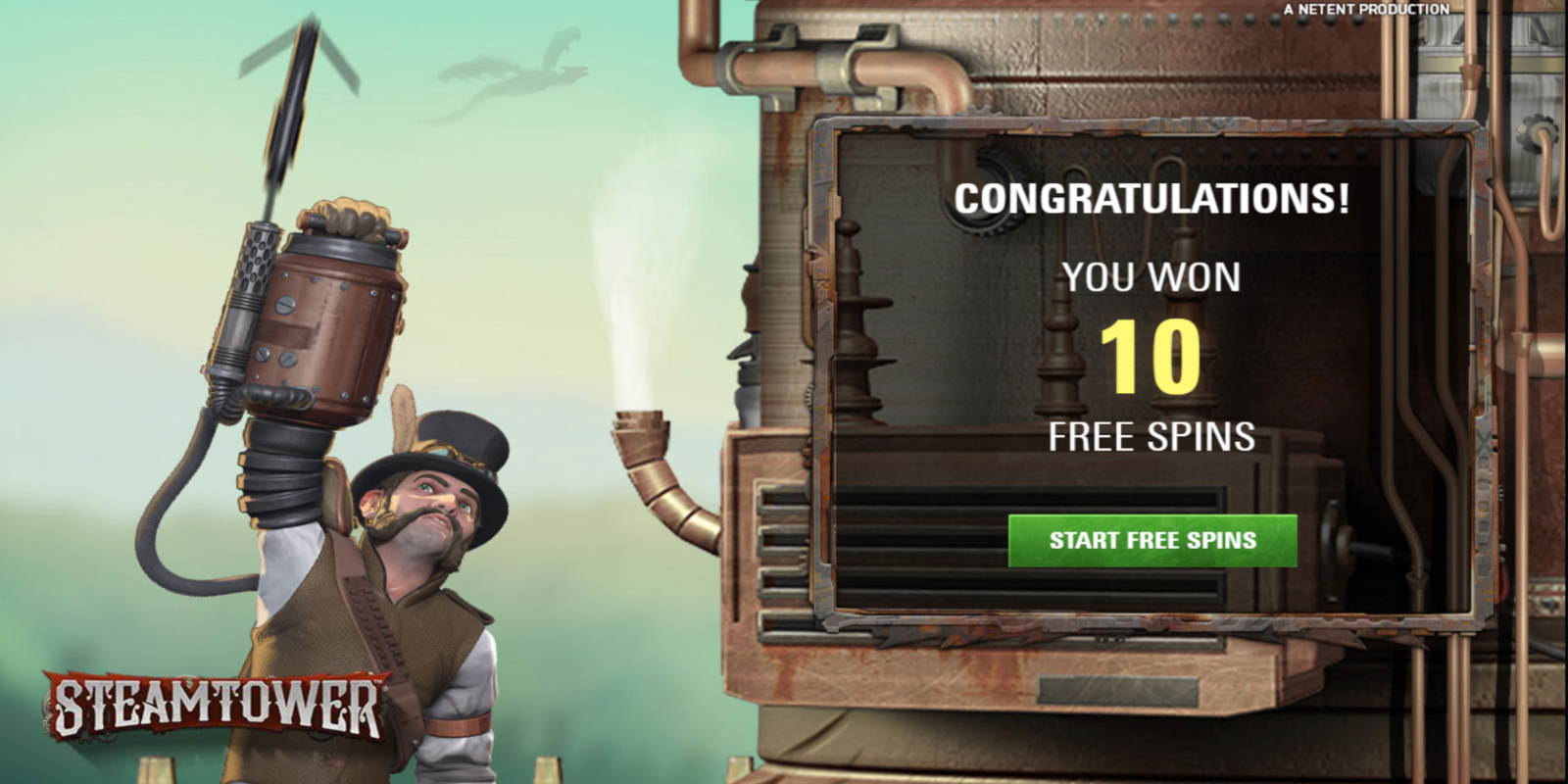 Steam Tower slot game Free Spins Win