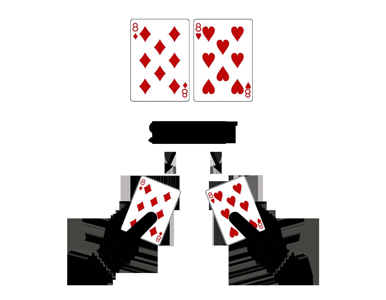 Blekdžeka Pamatstratēģija-dalīt pāri no 8