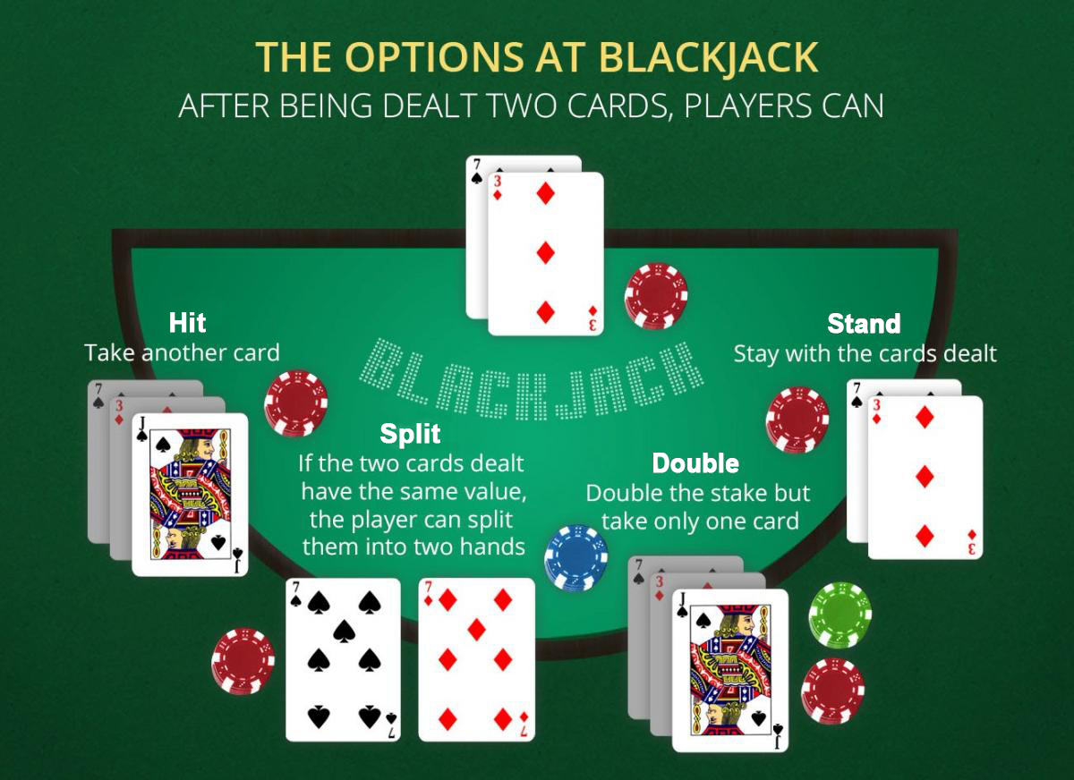 Players choises - Blackjack double down-Blackjack Split-Blackjack when to hit-Blackjack when to stand
