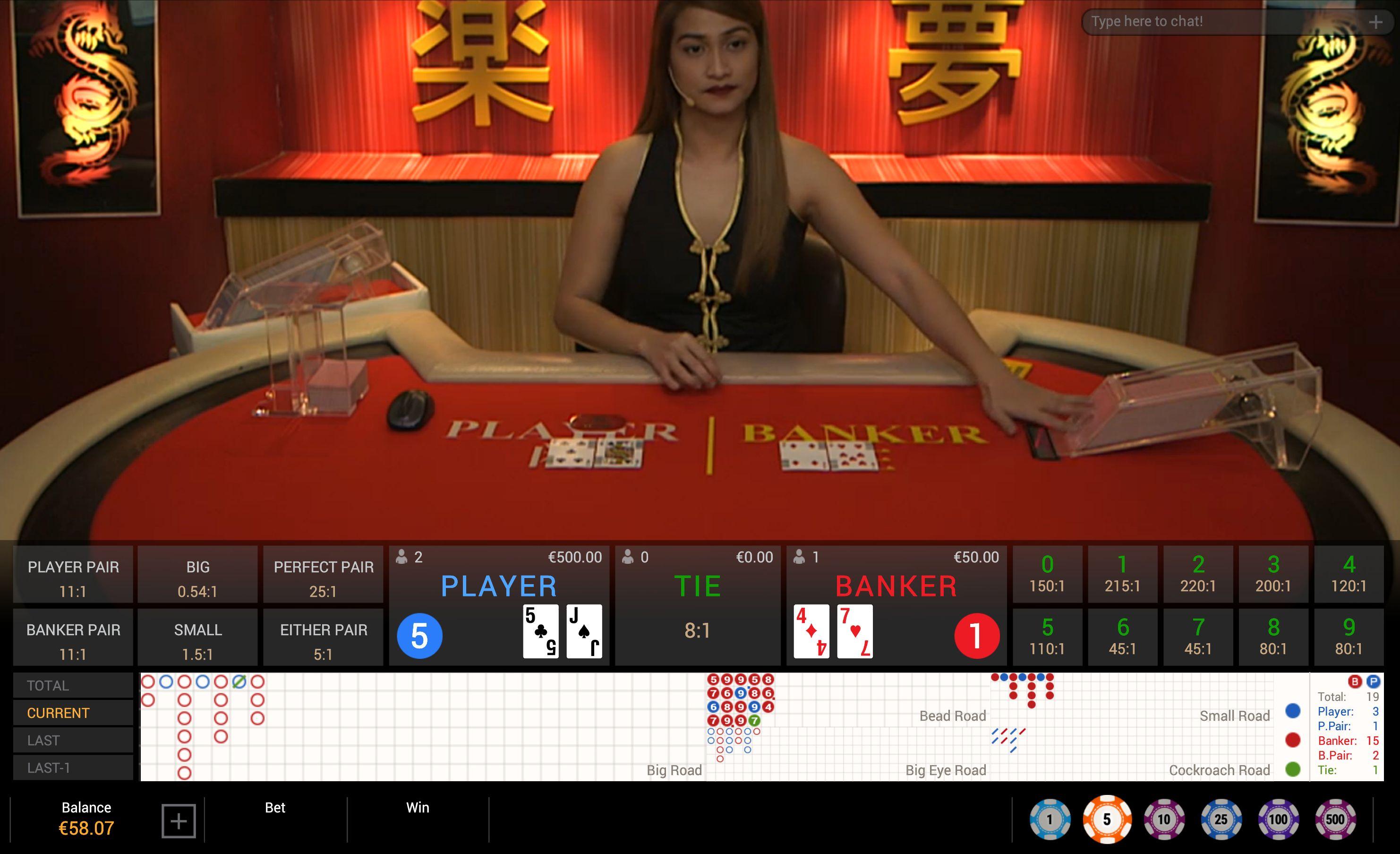 Live casino Baccarat live dealer