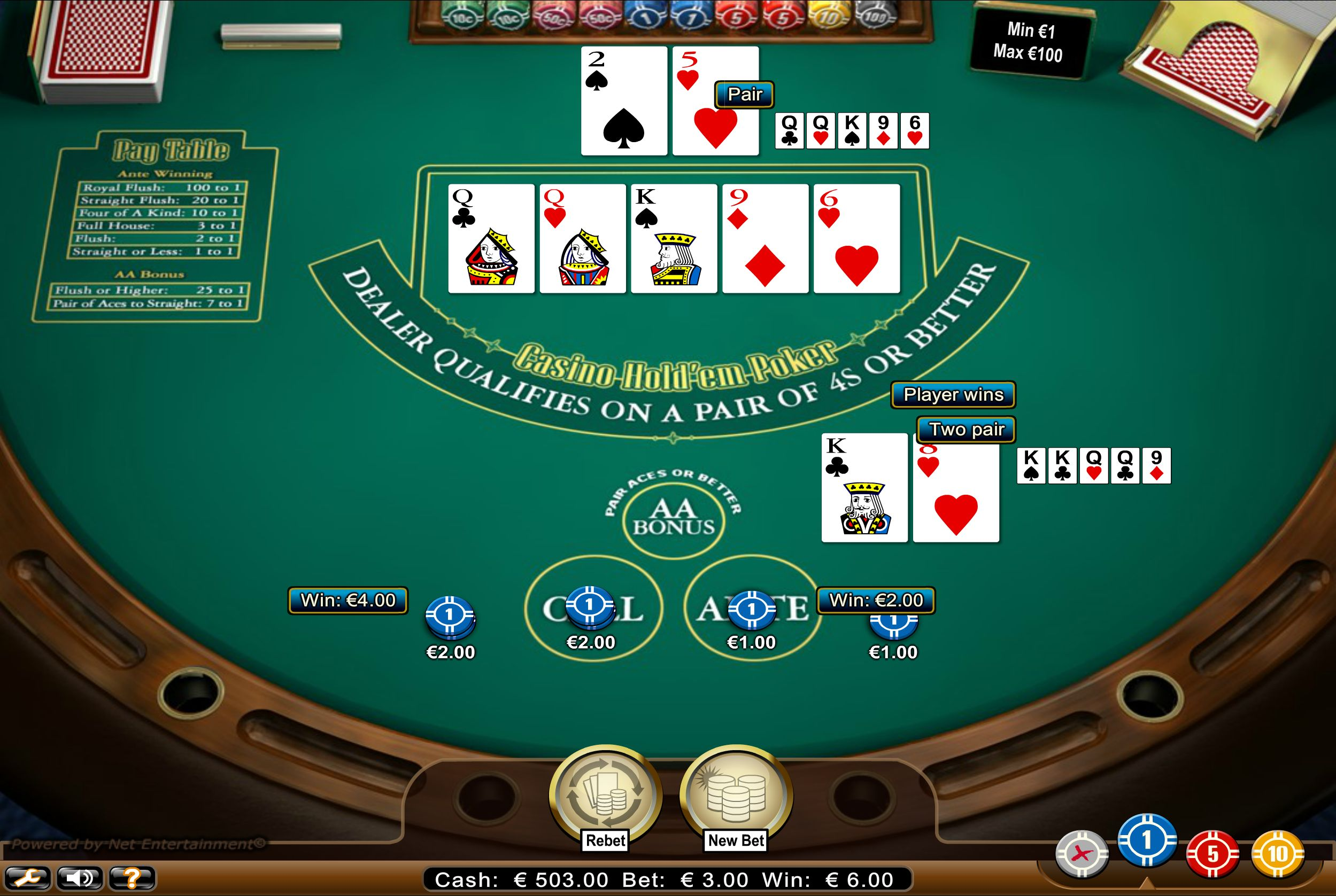 Live casino holdem rules
