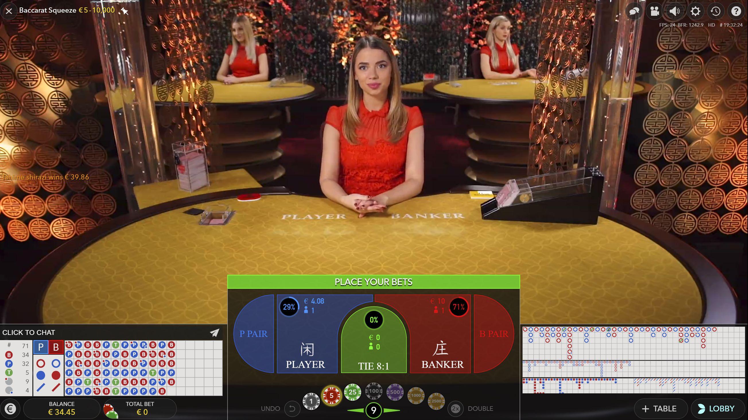 Casino på nett baccarat regler