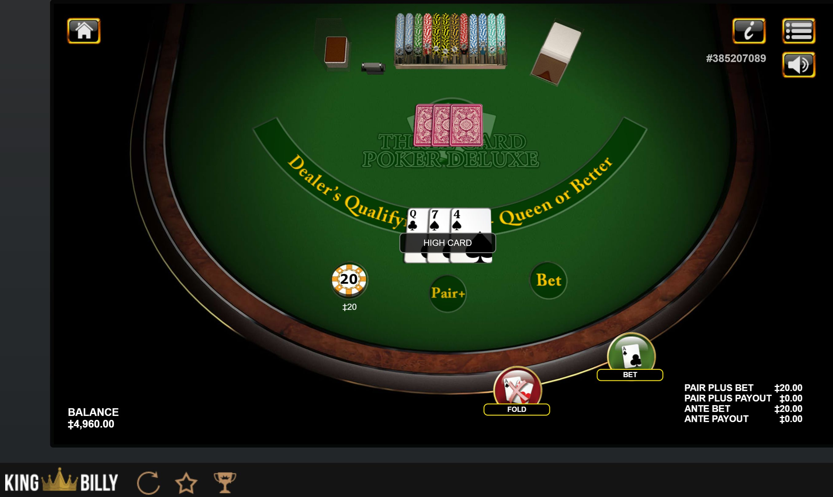 play top three card poker online odds