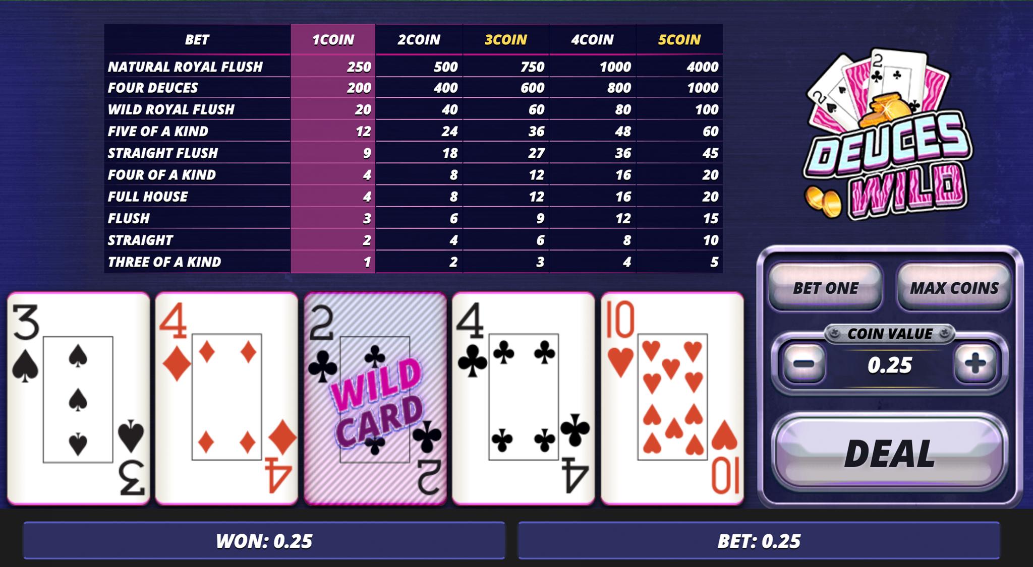Deuces Wild video poker online kazino - divnieki ir Wild simboli