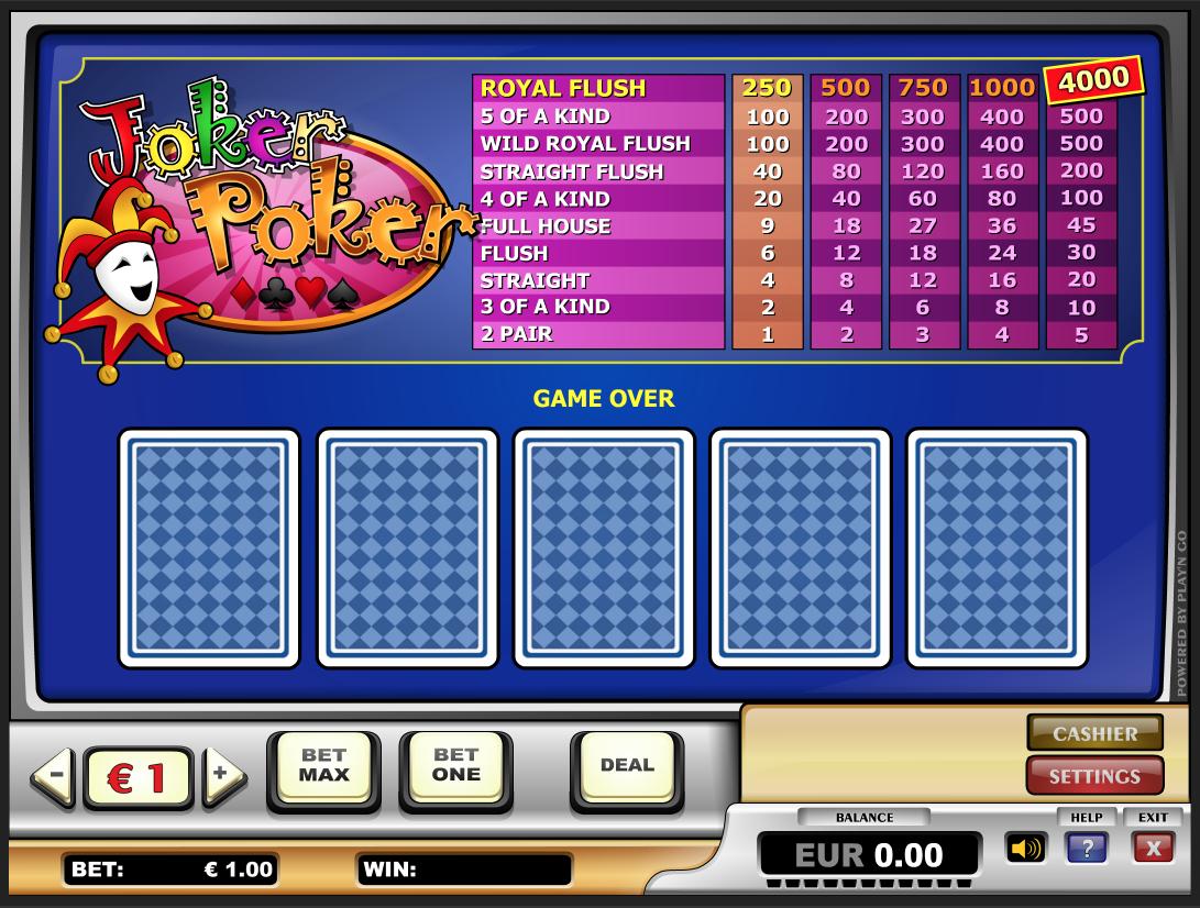 Joker poker Royal Flush kombinācija tiešsaistes kazino