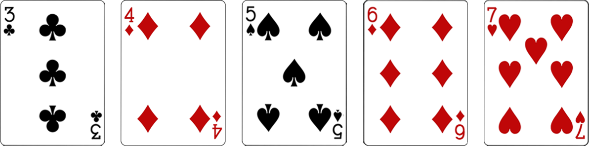 Pokera kombinācijas - Straight