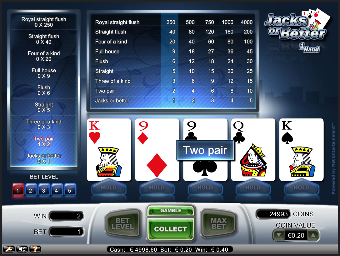 Video Pokers kazino internetā uz naudu Poker Jacks or Better