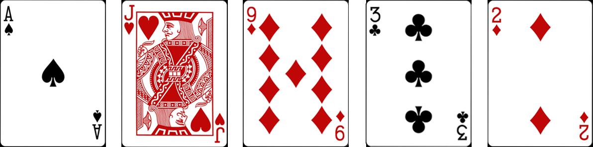 Video pokers karšu kombinācija High card jeb Augstākā kārts