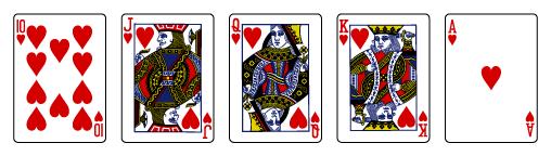 Videopokeria säännöt Kuningasvärisuora Royal flush