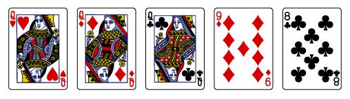 Videopokerin kädet Kolmoset Three of a kind parhaimmat nettikasinot kasinopelit netissä korttipelit