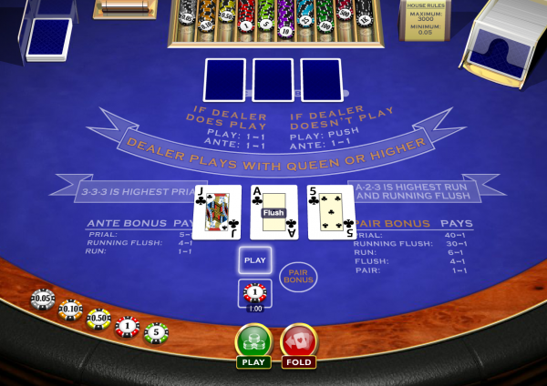Play 3 Card Brag at Casino.com UK
