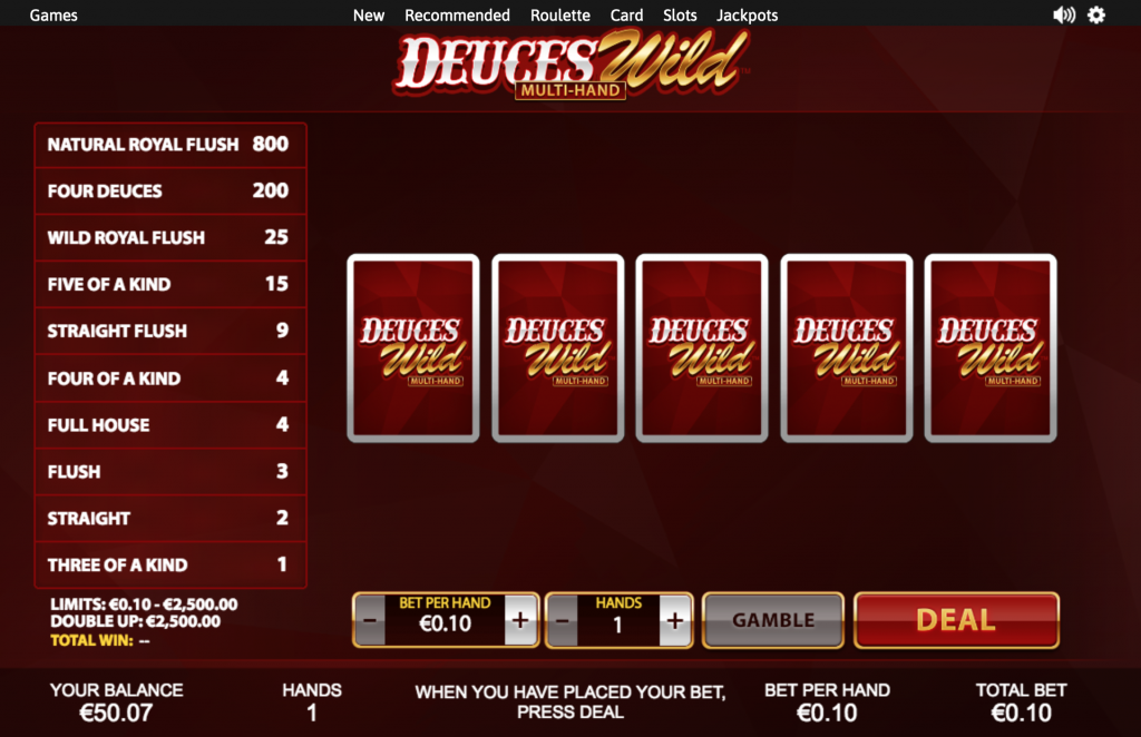 how to play video poker online - deuces wild and payouts