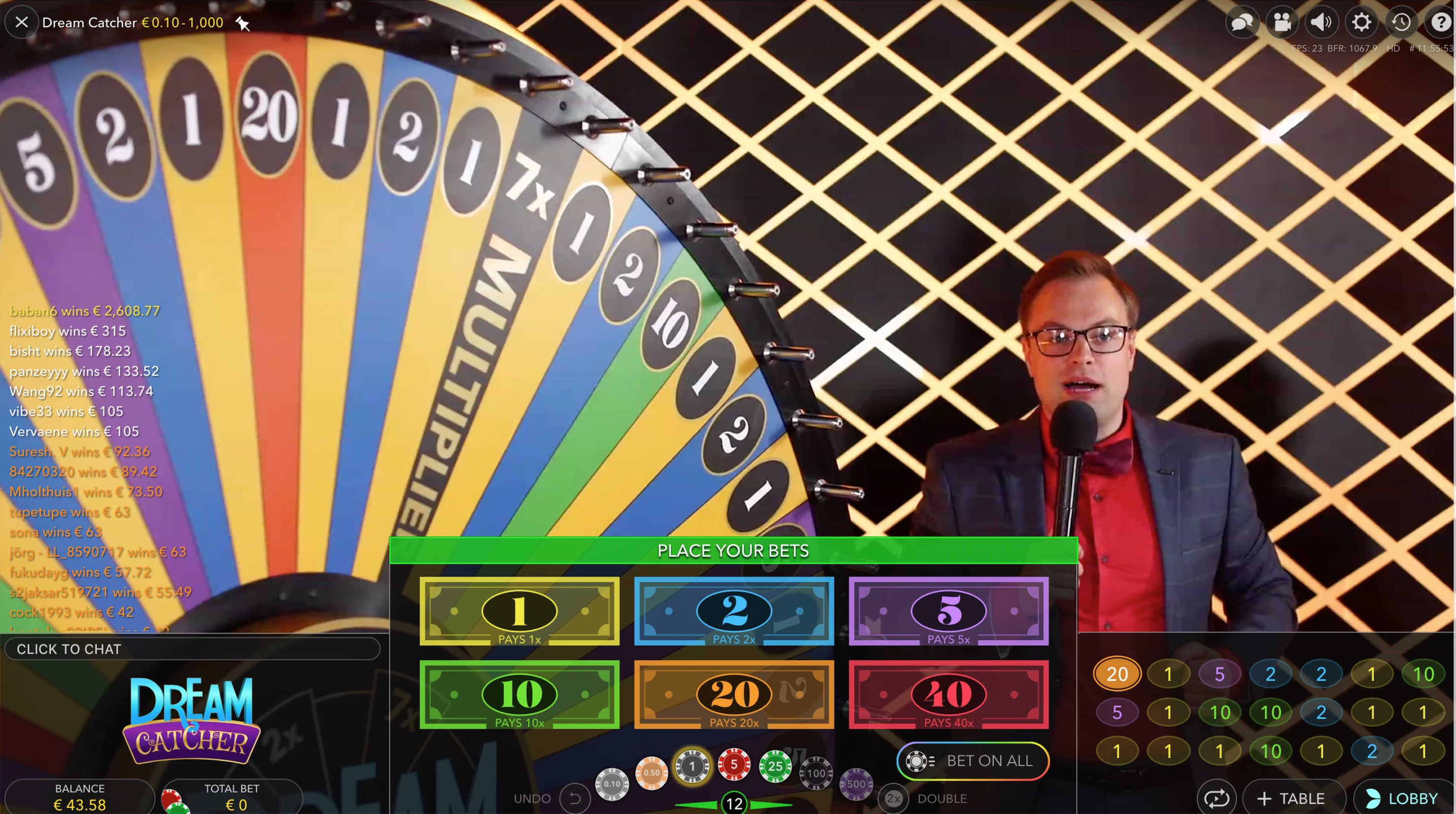 Dream Catcher strategy live casino game big wheel strategy
