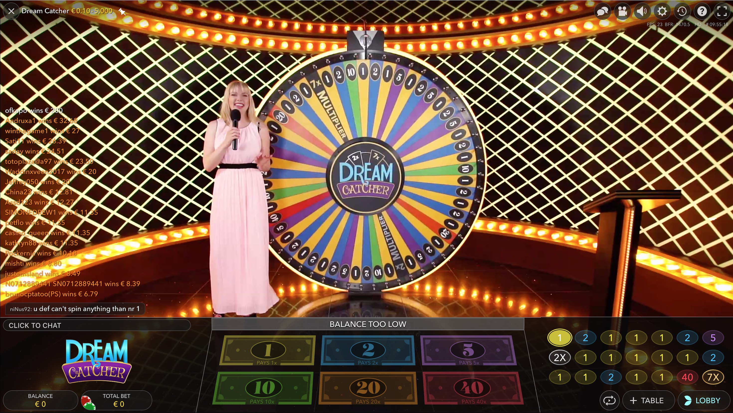 Live Casino spinning wheel game Krupjē