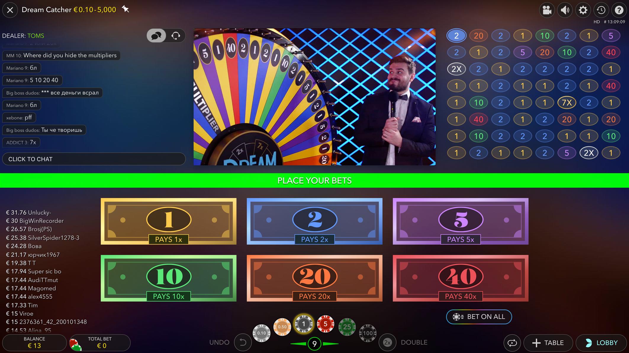 Live casino dream catcher betting - money wheel casino game