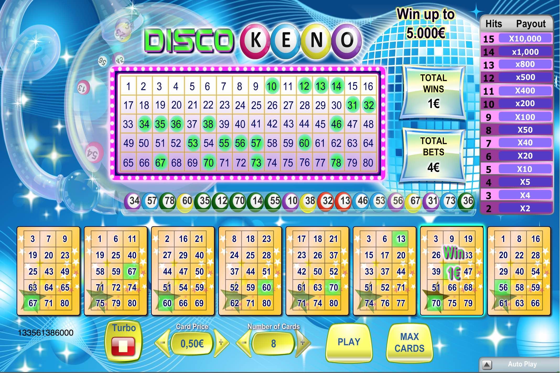 Kā spēlēt Keno Disco biļete kazino internetā