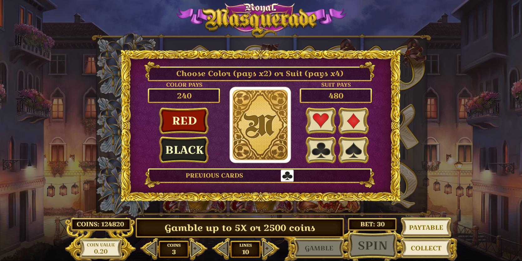 Royal Masquerade slot game Gamble or Collect