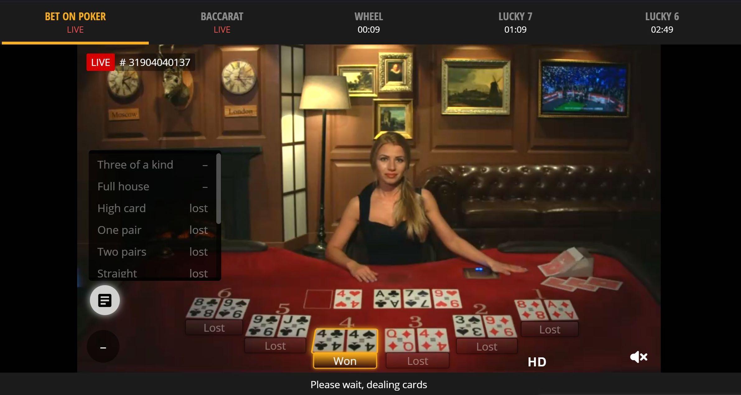 Betgames tv live casino