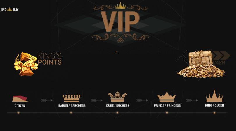 king billy no deposit bonus code - vip program king points