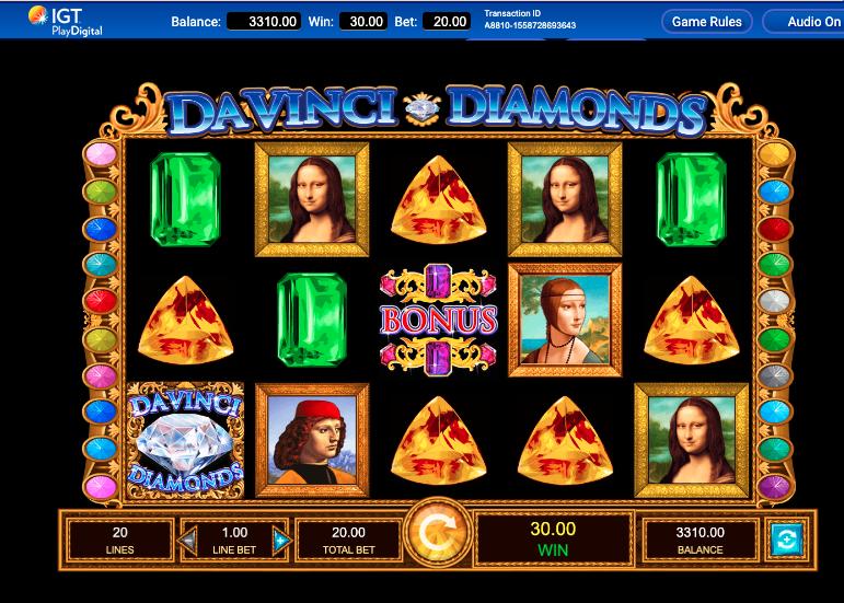 Da Vinci Diamonds Slotimängu ülevaade mängud