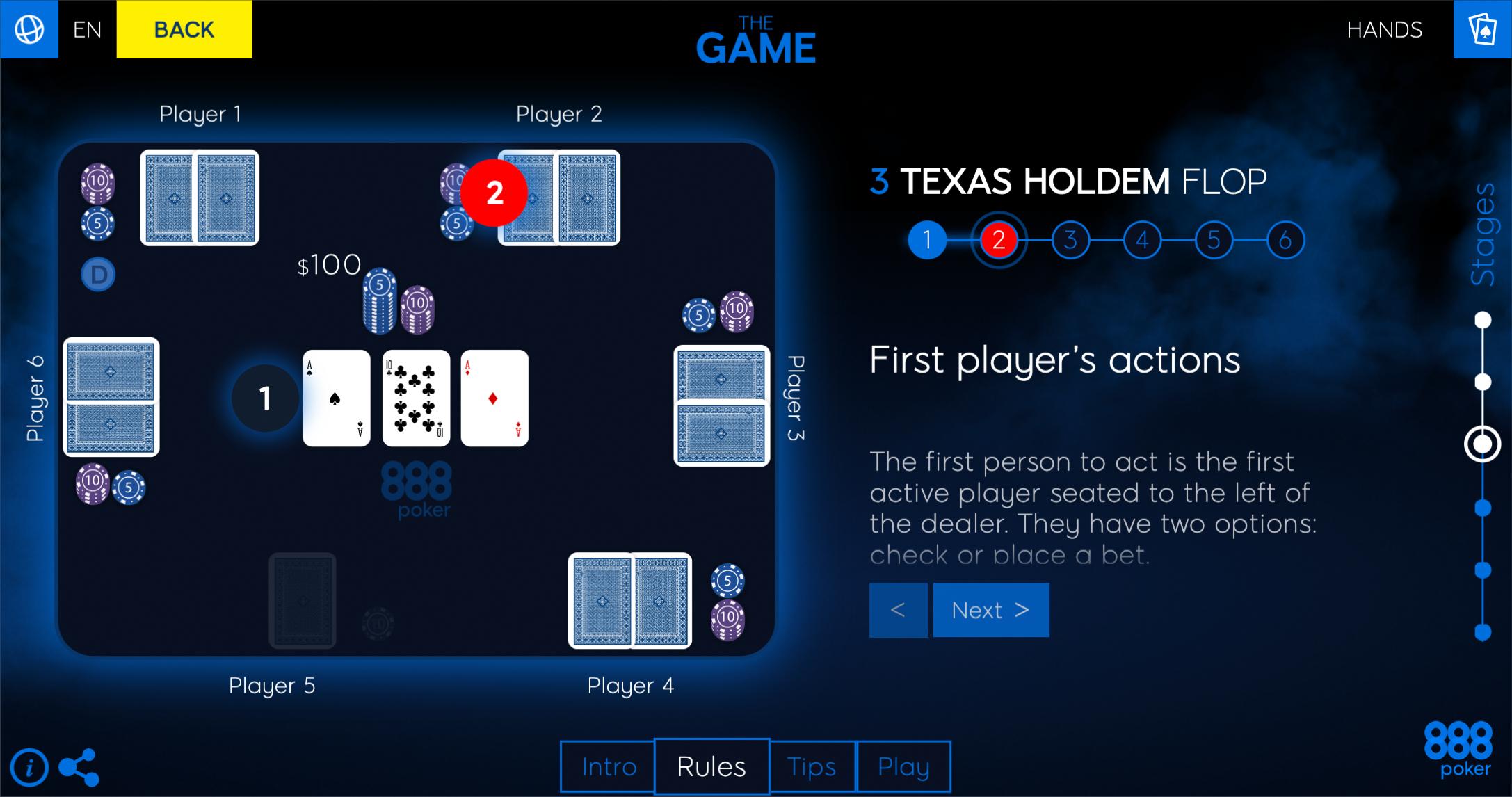 888 pokers online ļauj viegli iemācīties Texas Hold'em pamatnoteikumus