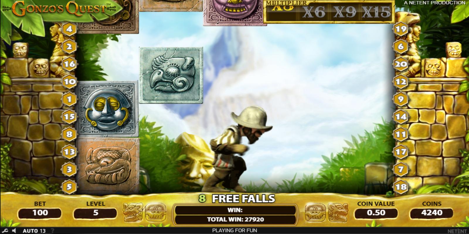 Gonzo's quest Free Falls bonuss - 10 bezmaksas gājienus (free spins)