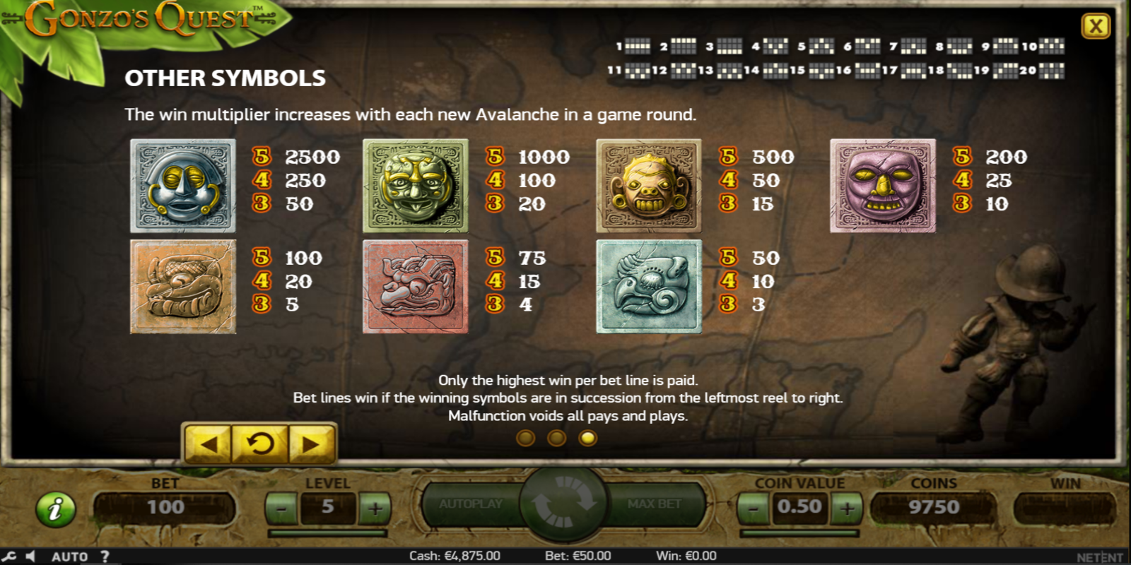 Gonzos Quest slots īpašās iespējas (special features) Win multiplier