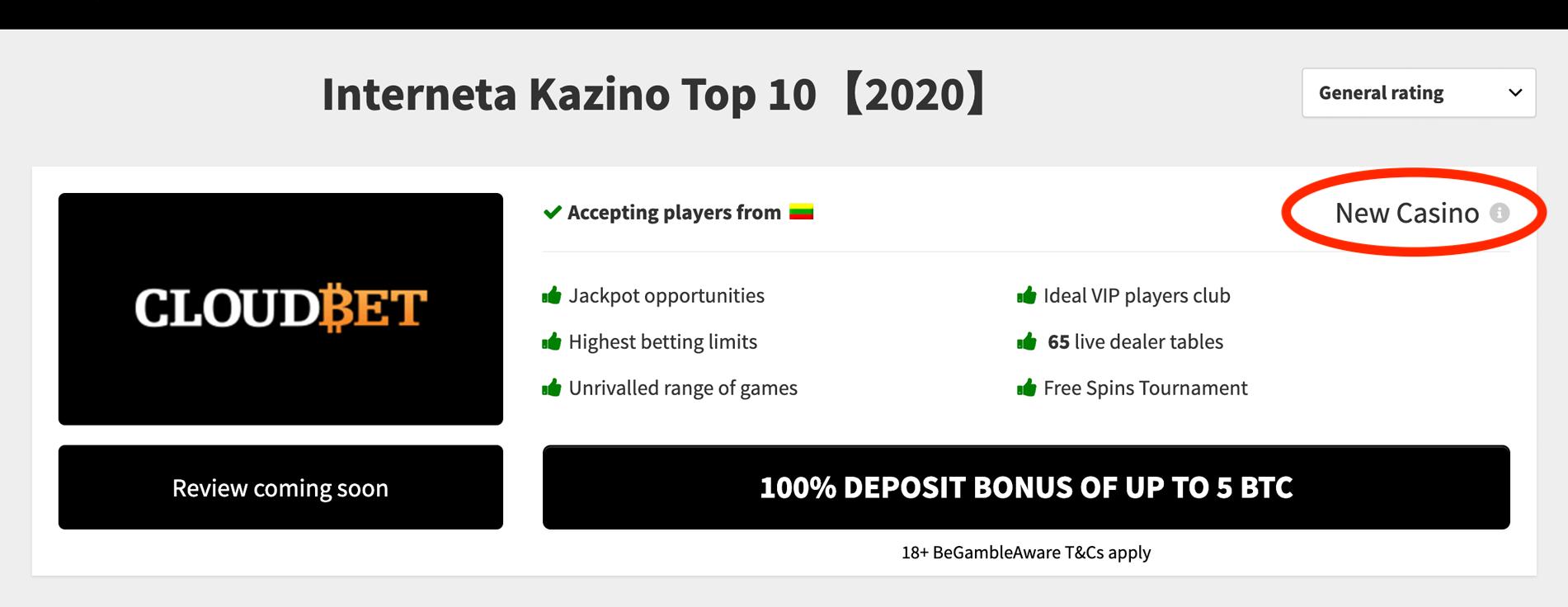 Tiešsaistes kazino reitings Kazino Apzīmējums Jauns uzņēmums