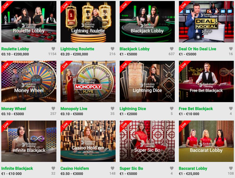 Live Casino På nettet – alle spill