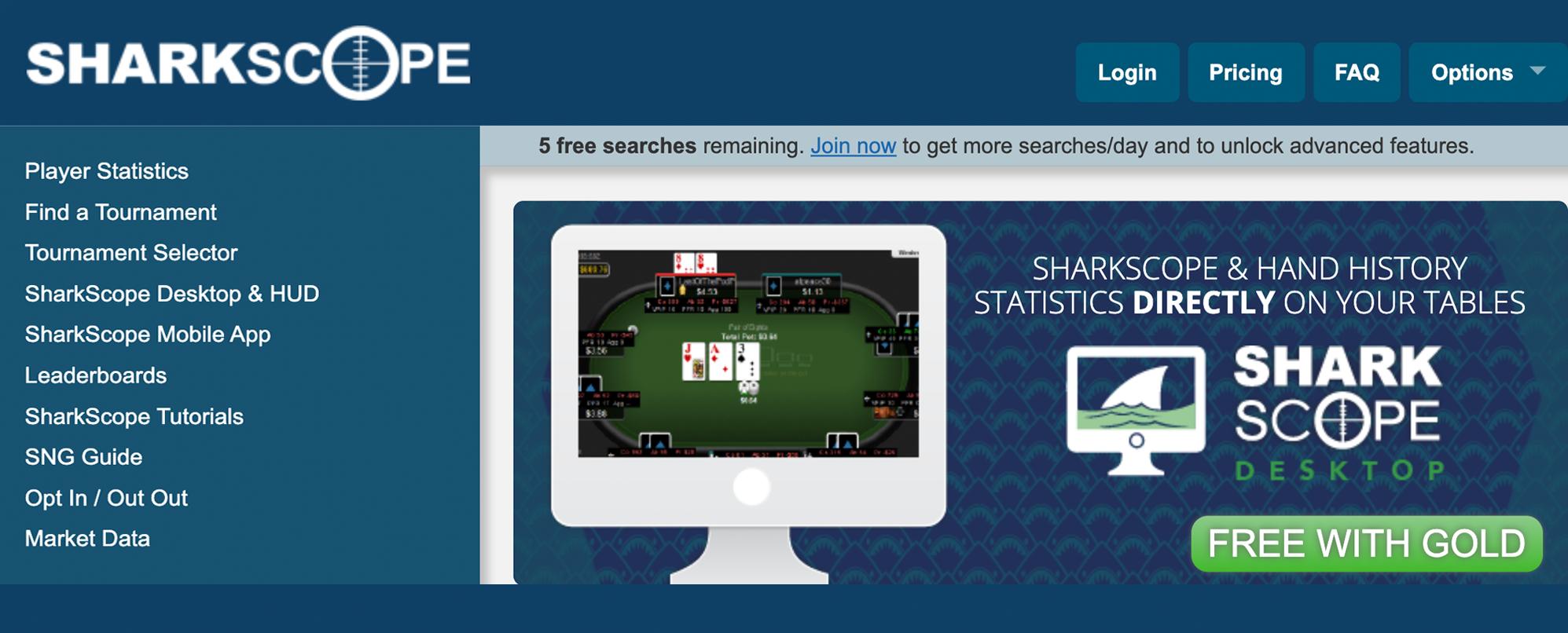 Tiešsaistes programma Sharkscope - pokera roku vēsture un statistika tieši uz jūsu galdiem