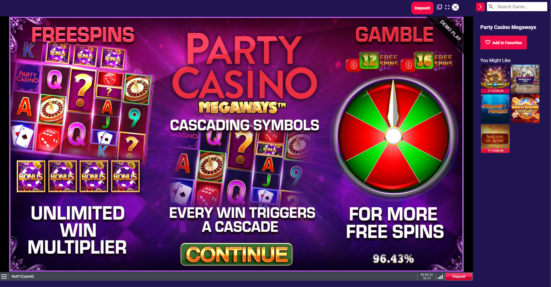 partycasino megaways free spins unlimited multiplier