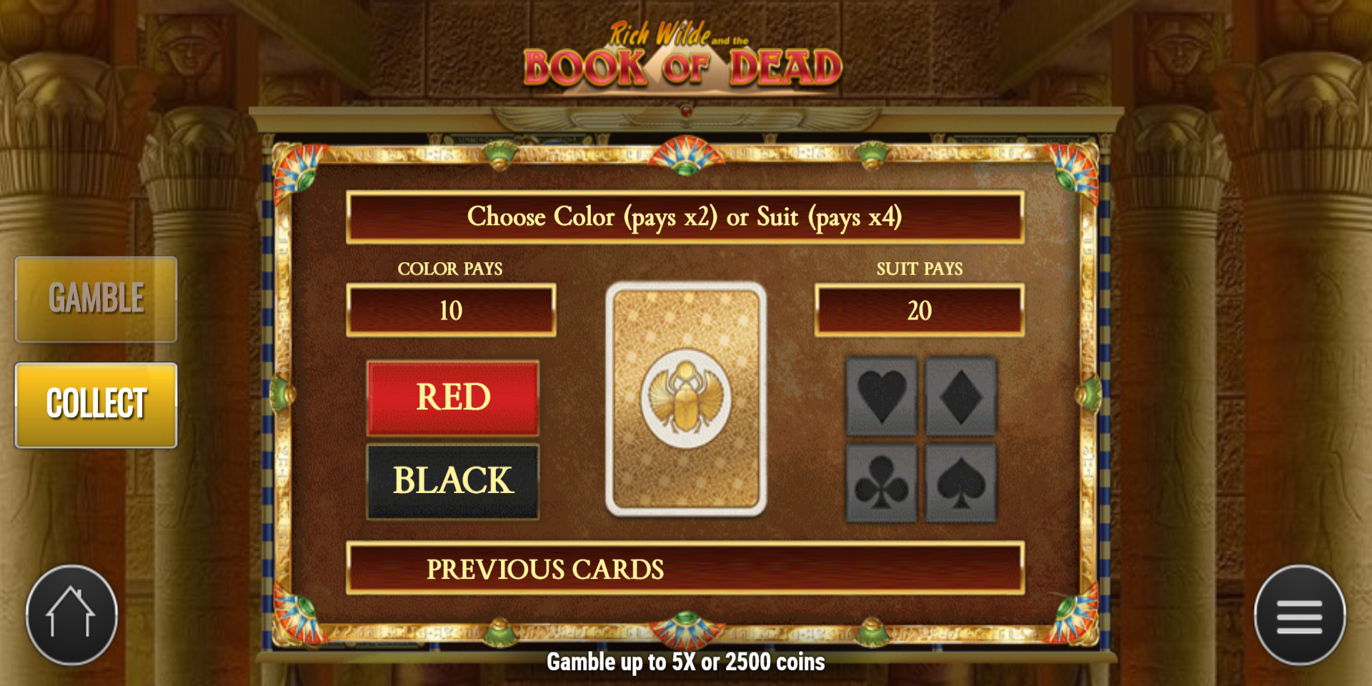 Book of Dead slot game Gamble Red or Black