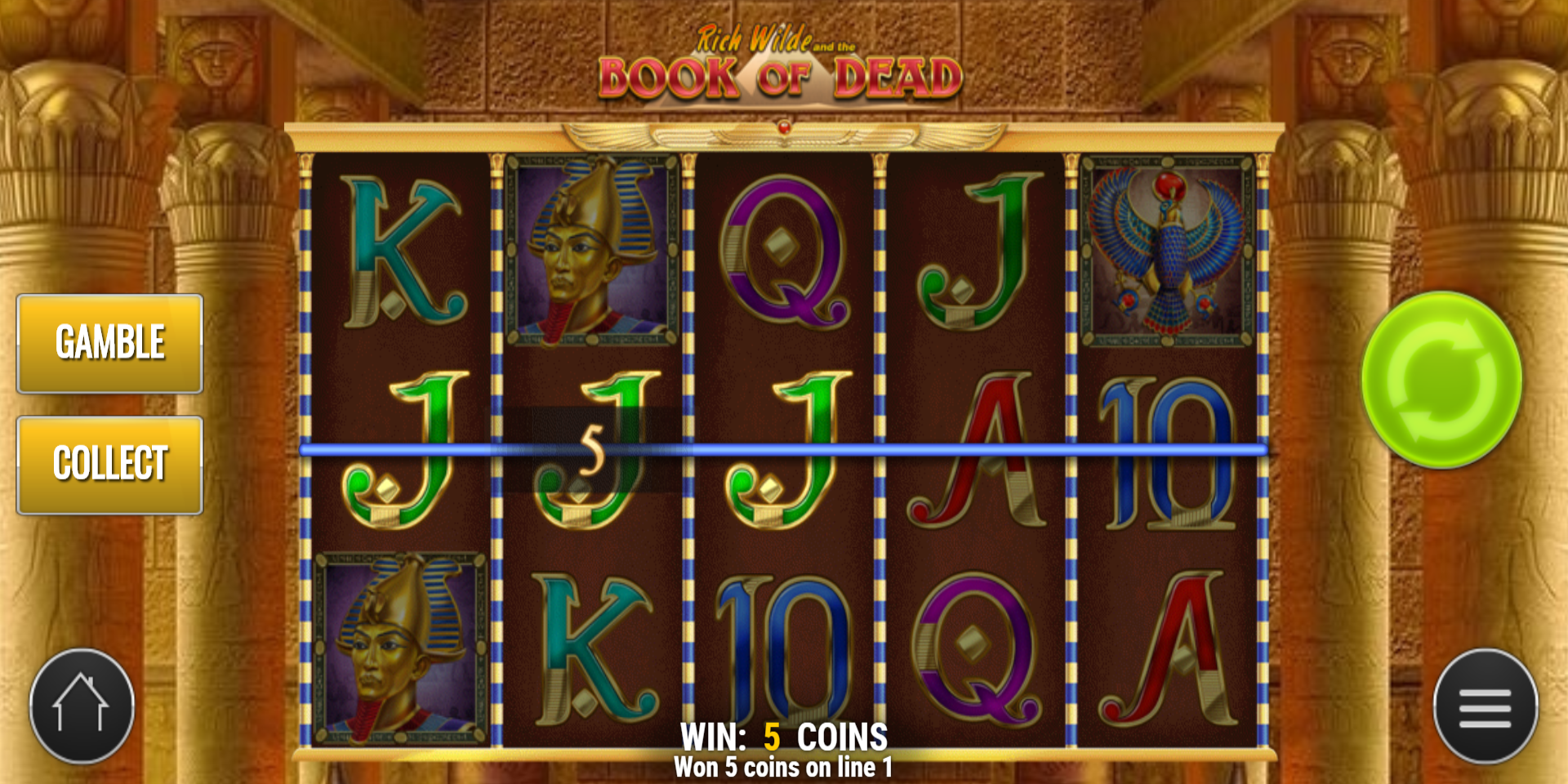 Book of Dead slot game Gamble or Collect