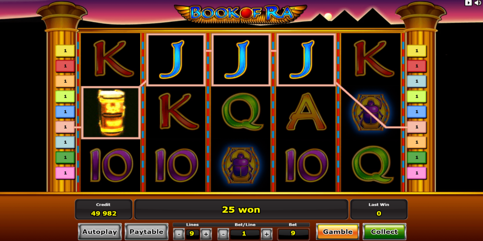 Book of Ra slot game Gamble or Collect