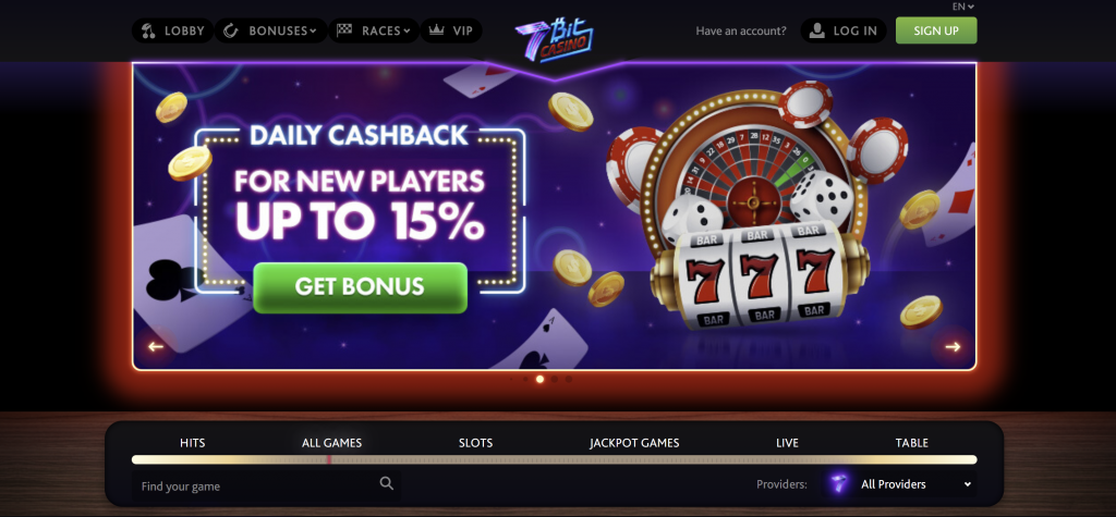7bitcasino review - 7bit casino front page