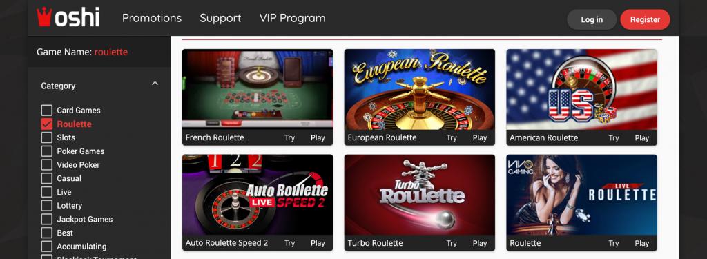 Oshi casino meniu - roulette casino games