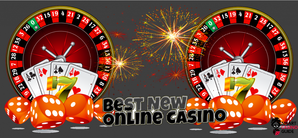 text - best new online casino sites, fireworks, cards, 7, roulette, orange dice