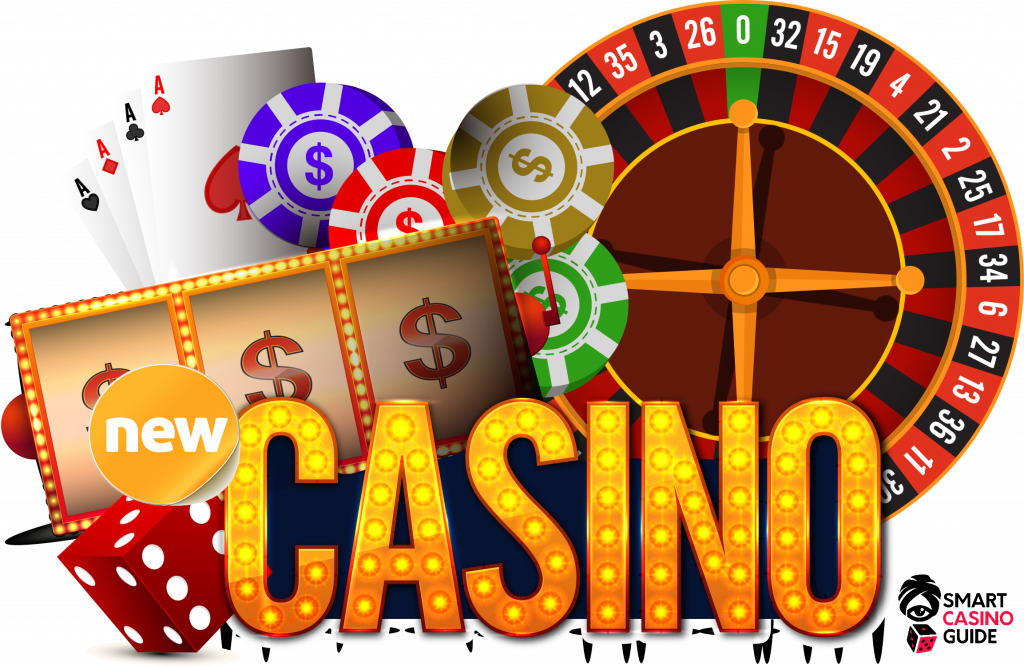 text - new casino - online cards, roulette, chips, dice, slots