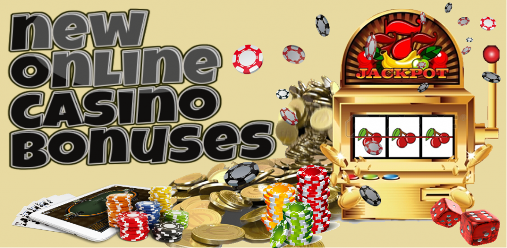 text - new online casino bonuses, jackpot, cards, dice, casino chips