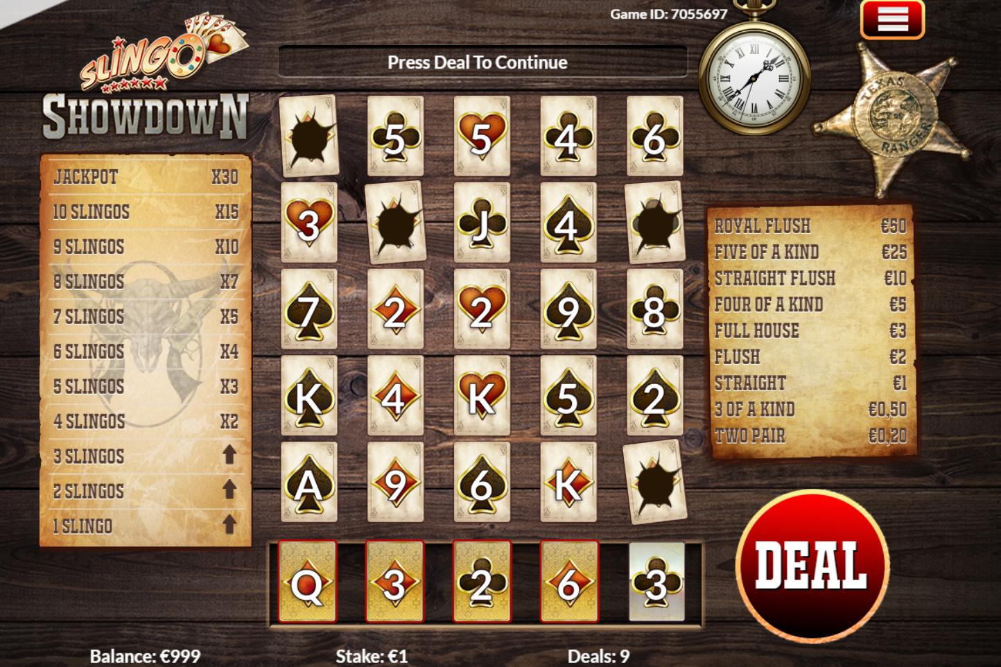 slingo showdown saloon sheriff star bermain kartu