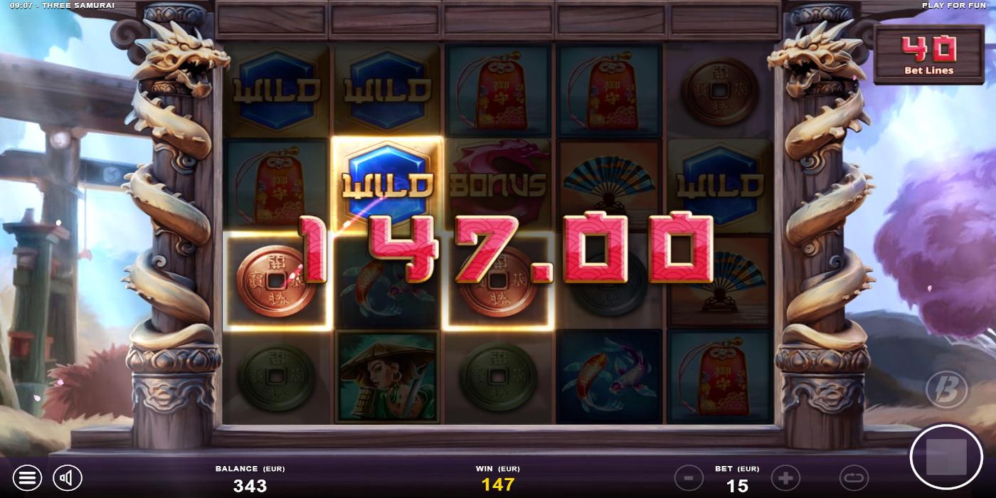 Tiga slot Samurai memperluas paylines hingga 40